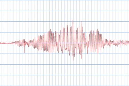 Sismograma de diferente registro de actividad sísmica. Signo de temblores sísmicos