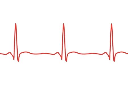 Vector illustration of heart line cardiogram isolated on background