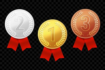Gold, silver and bronze award medals with red ribbons. Vector illustration