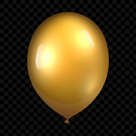 3d Realistic Gold Balloon. Glossy realistic baloon on transparent background. Vector illustration Reklamní fotografie