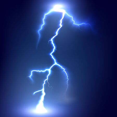 Lightning strikes the ground. Electric light thunder spark. Realistic lightning on dark background. Vector illustration Stock Photo