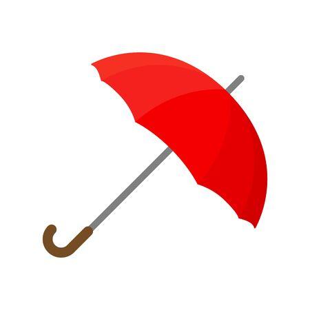 Red umbrella icon. Flat illustration of umbrella isolated on white background. Vector illustration Zdjęcie Seryjne