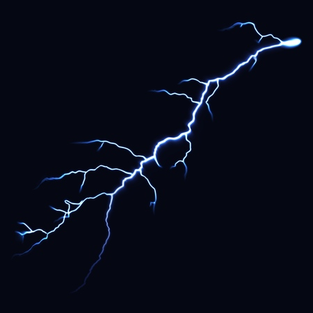 Thunderbolts on a dark background. Realistic lightning