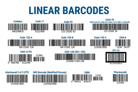 A set of bar codes. Simple flat barcode.
