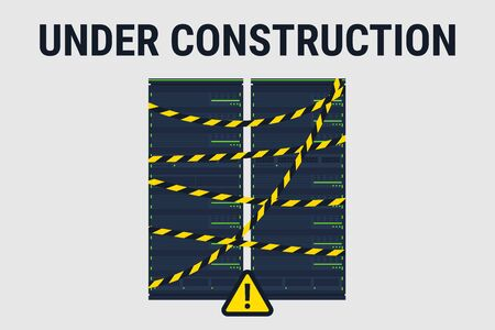 Network server under construction. Under construction website page. Vector illustration