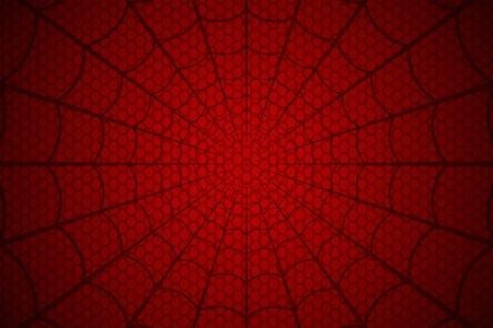Schwarzes Netz auf einem roten zellularen Hintergrund. Webvektor der Spinne. Vektorgrafik