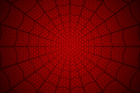 Black web on a red cellular background. Spiders web vector.