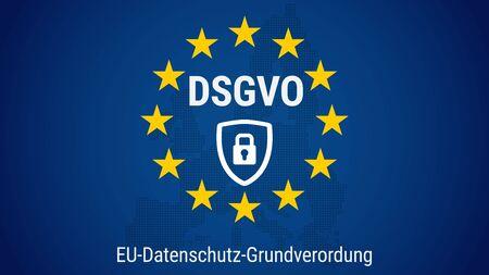DSGVO - german Datenschutz-Grundverordnung. General data protection regulation. Flag of European Union. Vector illustration