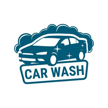 Logo car wash. Business car wash water. Vector icon design of car cleaning service. Vector illustration