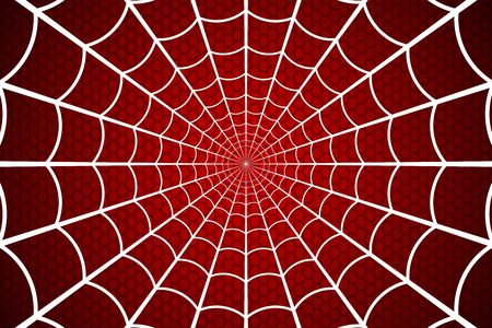 Ragnatela. Ragnatela su sfondo rosso. Illustrazione vettoriale