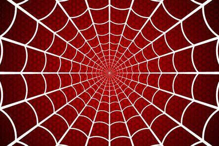 Spinnennetz. Spinnennetz auf rotem Hintergrund. Vektor-Illustration