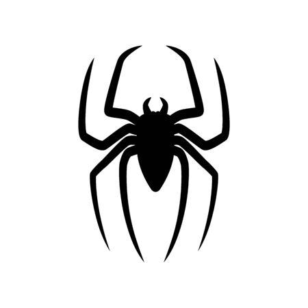 Silueta de araña aislado sobre fondo blanco. Aterrador con patas largas. Ilustración de vector