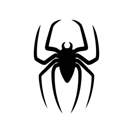Spider silhouette isolated on white background. Scary with long paws.