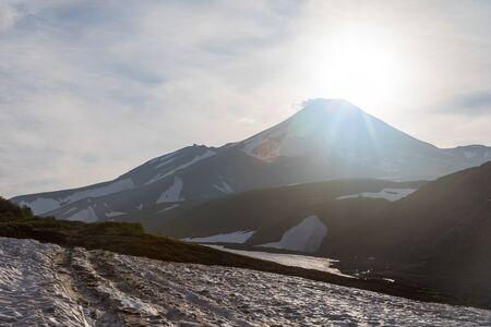 Avachinsky volcano, Kamchatka peninsula, Russia. An active volcano, located north of the city of Petropavlovsk-Kamchatsky, in the interfluve of the Avacha and Nalychev rivers.