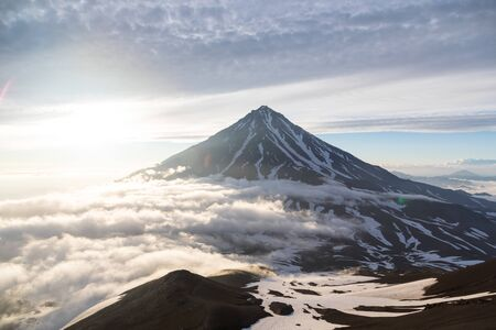 Koryaksky volcano, Kamchatka peninsula, Russia. An active volcano 35 km north of the city of Petropavlovsk-Kamchatsky. The absolute height is 3430 meters above sea level. Фото со стока