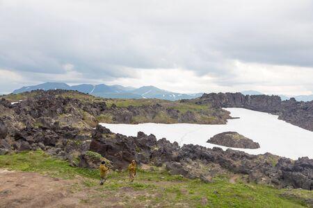 Lava fields around Gorely volcano, Kamchatka peninsula, Russia.