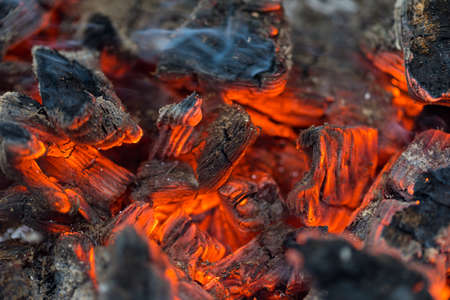 Flame incinerates firewood and transforms it ashes, close up, shallow depth of field. Blaze in a large stove. Nature texture of fire. The flame of fire burns in the brazier, smoldering firewoods. High quality photo