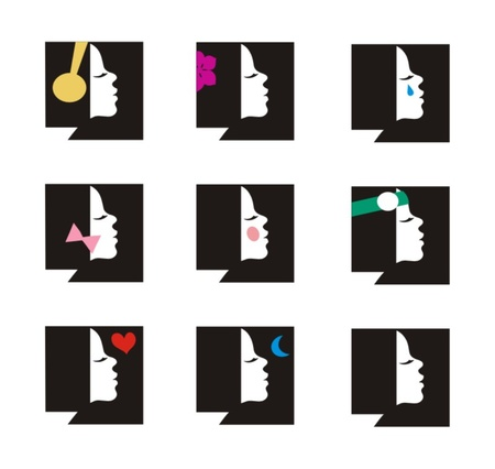 Young woman set of icons Illustration