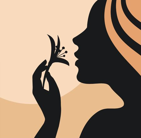 visage profil: Silhouette de jeune femme avec une fleur à la main