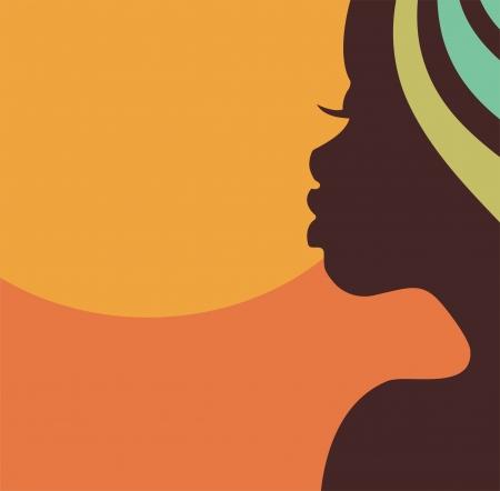visage femme profil: Afrique profil de visage de femme