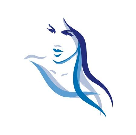 visage: Beau visage de femme aux cheveux longs