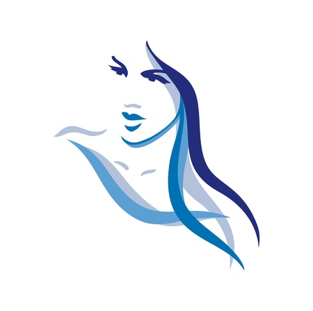 Beautiful woman face with long hair Vector
