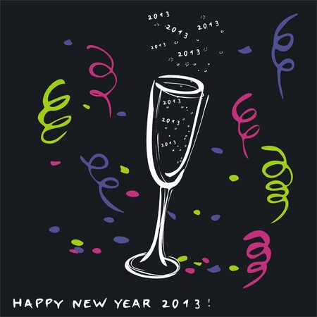 New Year s glass of champagne Stock Vector - 15594584