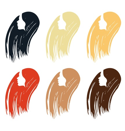 red hair beauty: Hair colors set of icones