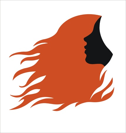Woman with long red hair Vector