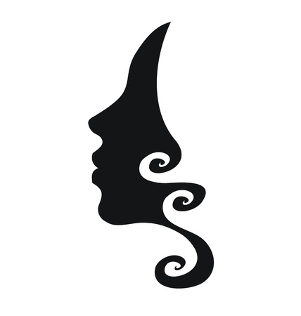 Vector profile of woman with curly hair