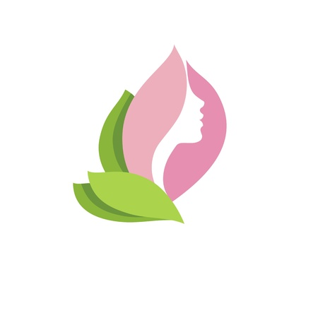 Woman face profile in pink flower bud  Illustration