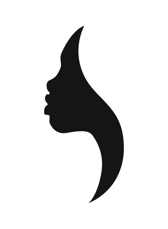 Face profile of african young woman on white background