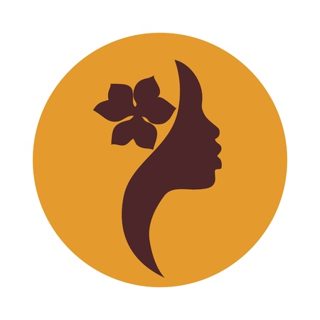 African American junge Frau Profil auf orange Hintergrund-Schönheit Vektor-Zeichen