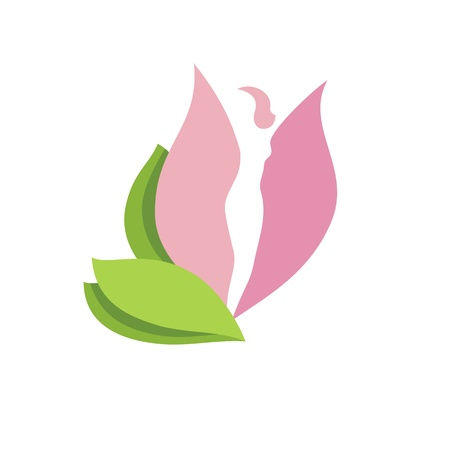 body woman: Woman face Woman body silhouette in pink flower bud-  icone on white background