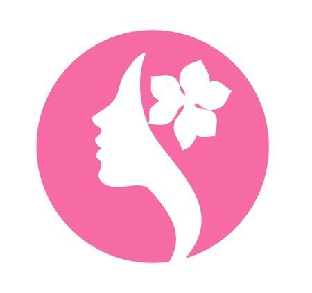 髪の美しさのベクトル記号の花を持つ若い女