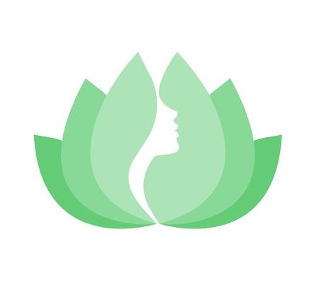 Woman beauty Lotus Vektor-Symbol auf weißem Hintergrund
