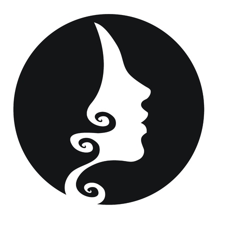 Woman head silhouette with stylised hair-vector icon