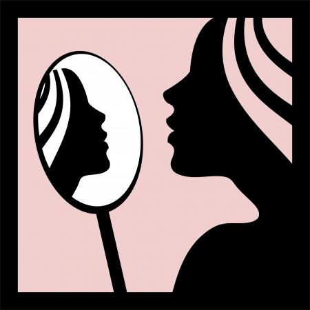 reflexion: Una mujer mirando en el espejo de la ilustración-vector