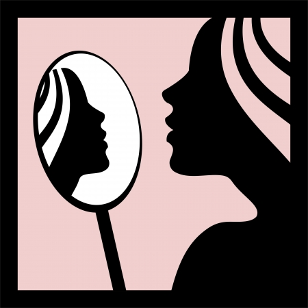 aesthetic: Woman looking in the mirror -vector illustration
