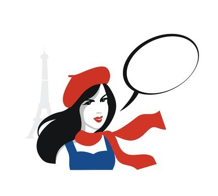 Mädchen aus Paris mit Sprechblase