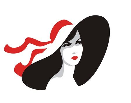 Beautiful woman in big hat-illustration on white background Illustration