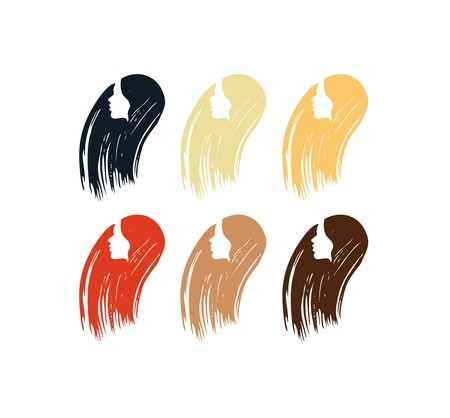 Hair colors set of icons