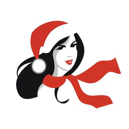 Frau mit langen schwarzen Haaren, roten Weihnachtsmann-Mütze und Schal Illustration