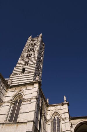 campanile: View of Sienas Duomo Cathedral Bell Tower Stock Photo