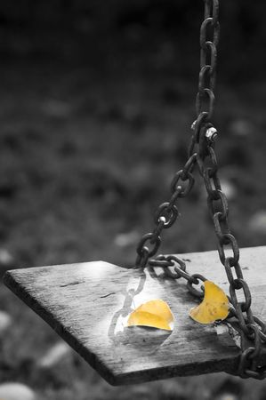autumn leaves over a wood swing photo