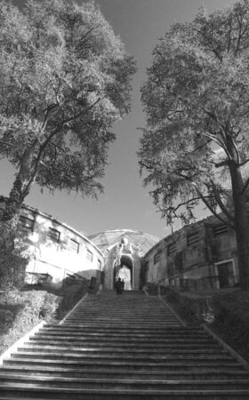 Perspective of an Empty Staircase in Zoo Park, Rome, italy photo