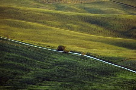 diagonally: road transversing diagonally a green landscape takein in Val dOrcia, tuscany, italy Stock Photo