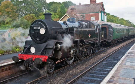 railway engine: Steam Locomotive Train Sussex, England Editorial