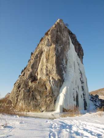 Frozen waterfall in Mount Przewalski, Primorsky kray, Russia Stock Photo