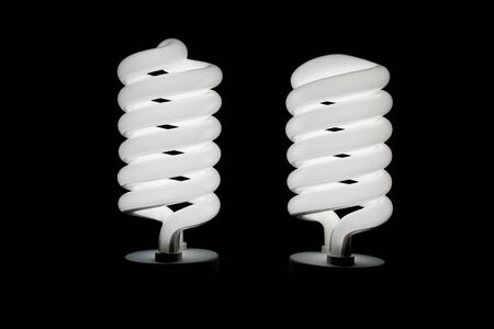low energy: Two low energy spiral light bulbs illuminated